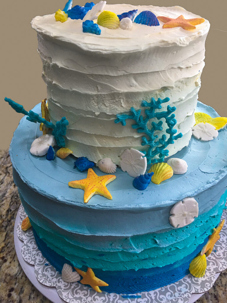 decorated custom cake design ombre sea theme party shower